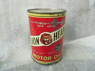 Early Original Lion Head Motor Oil Quart Metal Can Gilmore Oil Co.