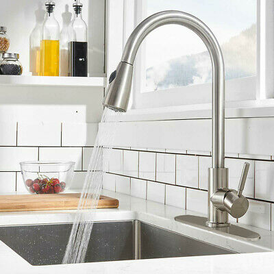 """Kitchen Sink Faucet Pull Out Sprayer Single Hole Swivel Mixer Tap with 10"""" Cover"""