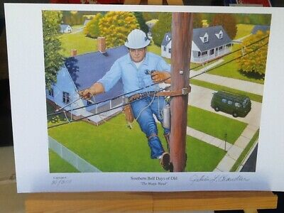 Bell System Telephone Repairman # & signed by Artist