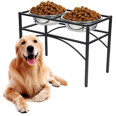 """Double Dog Pet Feeder Stainless Steel Food Water Stand Tray Fit bowl 8.3""""Dx2.8""""H"""