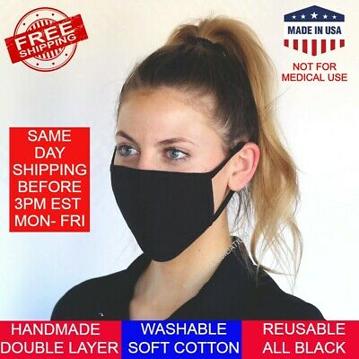 Washable Reusable Face Mask Cover Soft Cotton Cloth Double Layer Adult Unisex