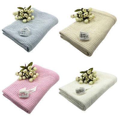 1Pc Baby Warm Cotton Solid Color Knitted Crochet Rectangle Blankets Supplies