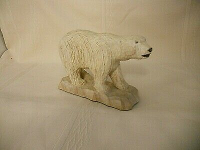 Hand Carved Polar Bear 7 inch Long Note on Bottom Hand Carved By Al Bryan