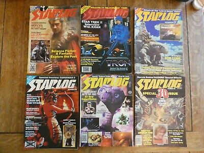 STARLOG MAGAZINE BUNDLE X 6 46,54,55,57,62,64 TRON, ET, Star Wars 80s retro 1982