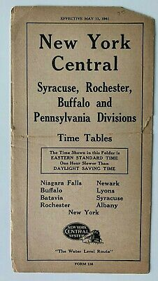 1941 New York Central Railroad RR Timetable Syracuse Rochester Buffalo PA Divs