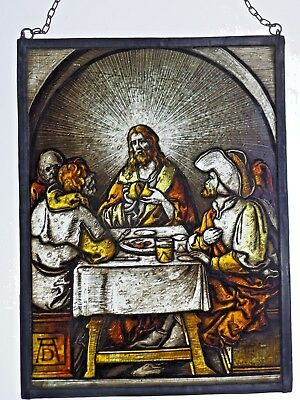 "Leaded Glass Window Image Old Championship Stained Glass "" Jesus A.D Motif"
