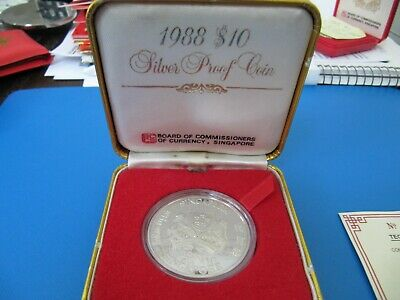 1988 $10 Silver Proof Coin Singapore UNC with box & COA YR of the Dragon
