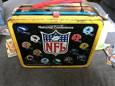 1975 NFL Football Metal Lunch Box No Thermos Decent Lunchbox