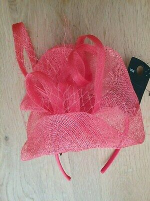 M & S Deep Coral Pink Natural Straw/Feather Headband Fascinator/Hat BNWT