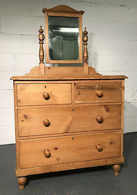 Antique Victorian Pine Chest Of Drawers Dressing Table