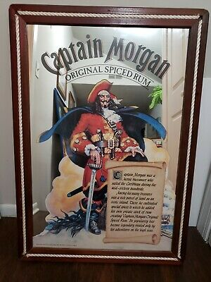 RARE BIG Captain Morgan Spiced Rum Mirror Old Cool  BAR MAN CAVE 29X41""