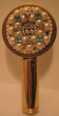 Old 1950s Fancy Pearl & Rhinestone Lipstick Holder Compact w/Mirror