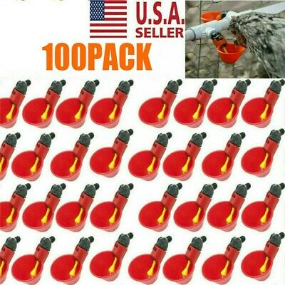 100 Pack Poultry Water Drinking Cups- Chicken Hen Plastic Automatic Drinker USA