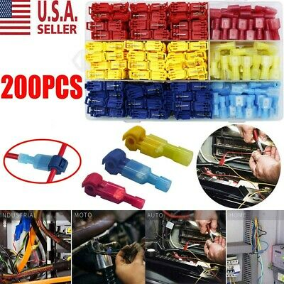 200 Insulated T-Taps Quick Splice Wire Terminal Connectors Combo Kit 22-10 AWG