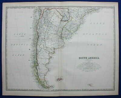 Large antique map SOUTH AMERICA, CHILE, ARGENTINA, PATAGONIA, Johnston 1886