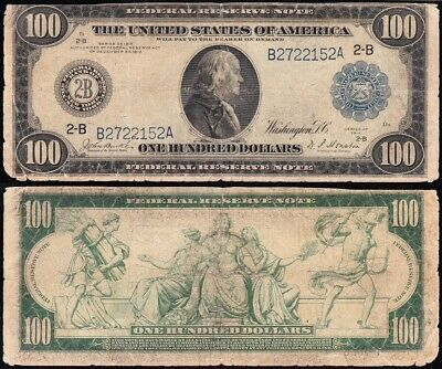 Circulated 1914 $100 New York Federal Reserve Note! FREE SHIPPING! B2722152A