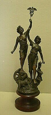 Antique French Spelter Male & Female Figure - Industry & Commerce (ref LR)
