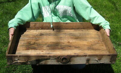 Primitive Ornate Large Antique 19Th Century Wooden Box Tray / 1800'S Rustic