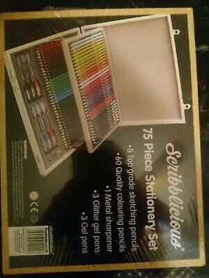 Wooden box scribblicious Box Colouring Pencils stationery set.