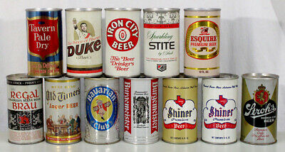 12 Vintage Pull Tab Beer Can Tavern Pale Duke Bavarian Club Shiner Stroh Esquire