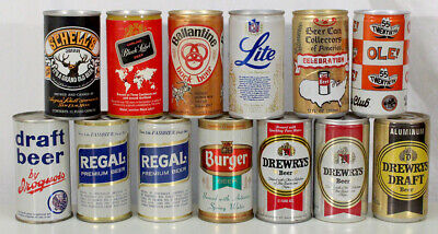 12 Vintage Pull Tab Beer Can Schells Ballantine Bock Drewrys Carling Black Label