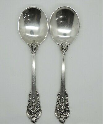 """Pair  Wallace Grande Baroque Sterling Silver 6 1/8"""" Round Bowl Cream Soup Spoon"""