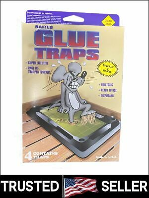 Pack of 4 Disposable Glue Trap for Mice Rats Mouse Super Stick Tray Made in USA