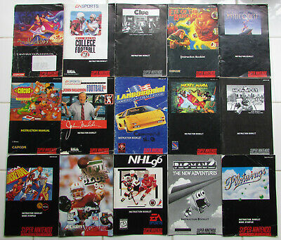 Super Nintendo SNES instruction manuals -- you pick -- free shipping (2)