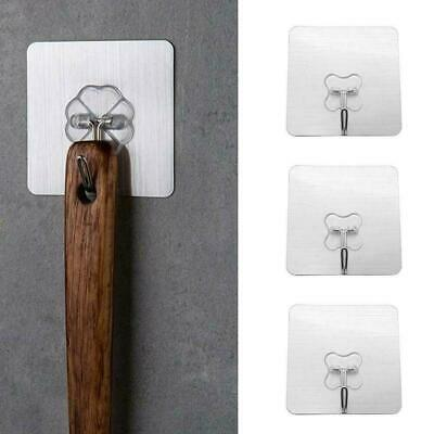 10Pcs Removable Self Adhesive Hooks Wall Door Plastic Holder Sticky Strong U7M3
