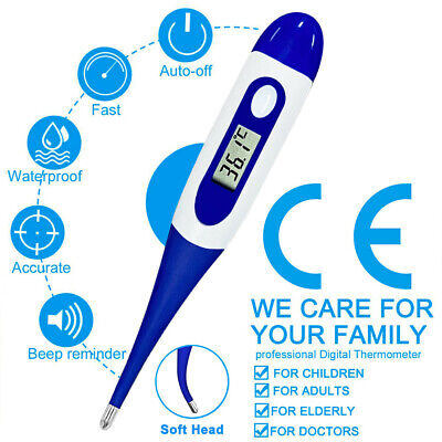 DIGITAL LCD AUDIBLE THERMOMETER Temperature Fever Adults Kids Baby Oral Underarm