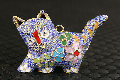 chinese blue cloisonne Handpainted cat statue netsuke collectable pendant