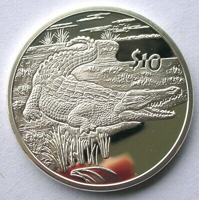 Sierra Leone 2005 Crocodile 10 Dollars Silver Coin,Proof