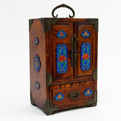 Chinese Wood Jewelry Box Cabinet with Blue Enamel Cloisonné Panels 5 Drawers
