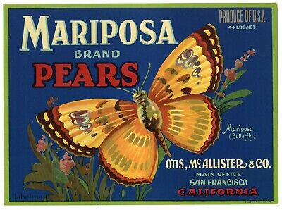 MARIPOSA Brand, Butterfly, Pears **An Original Fruit Crate Label**