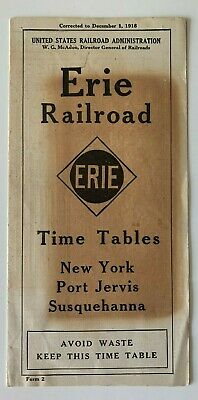 Vintage 1918 Erie Railroad RR Timetable New York Port Jervis Susquehanna train