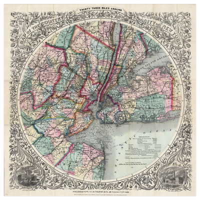 1882 Colton New York City Map Of 33 Miles Around The City Of New York Poster