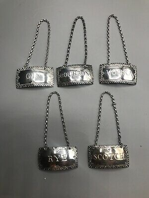 Set Of 5 Sterling Silver Stieff Williamsburg Pattern Decanter Liquor Labels Tags