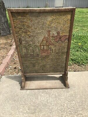 Antique Upright Fire Screen Needlepoint-Tapestry Panel and Stand Primitive Tramp