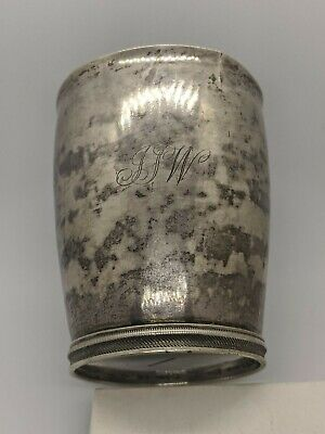 """W Moulton Coin Silver Beaker Cup Inscribed & Initials 3.5"""" Tall"""