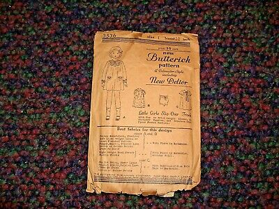 Antique Butterick Sewing Pattern Little Girl's Size 1 Slip Over Frock COMPLETE