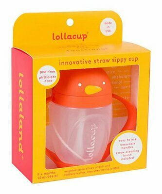 New - Lollacup - Straw Sippy Cup - Orange Pinquin 9+months 10oz