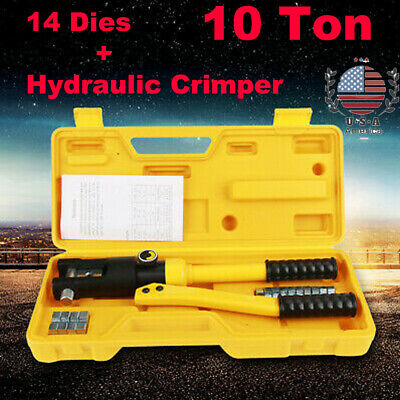 10 Ton Hydraulic Wire Crimper Tool Battery Cable Lug Terminal Crimping w/14 Dies
