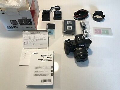 Canon EOS M50 Mirrorless Digital Camera 15-45mm EF-M IS STM Black with Extras