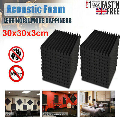 6//12/24 Acoustic Panels Tiles Studio Sound Proofing Insulation Closed Cell Foam