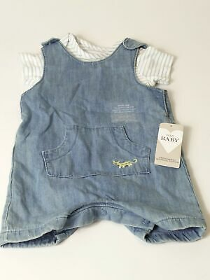 Bnwt M&S Boys Blue & White Romper & T Shirt 2 Piece Set Age 6-9 Months