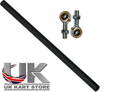 Go Kart M8 Track Rod 190mm Round Black With Ends Race Racing