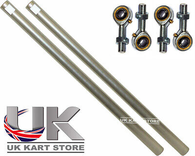 Go Kart M8 Track Rod 190mm Round Silver With Ends Race Racing x 2 Race Racing
