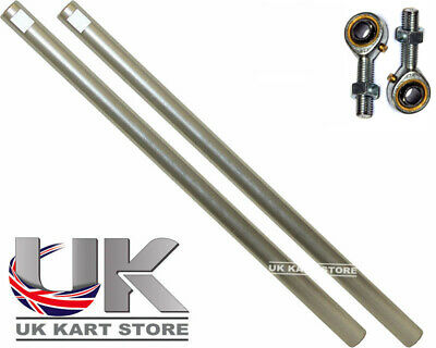 Go Kart M8 Track Rod 265mm Round Silver With Ends X 2 Race Racing