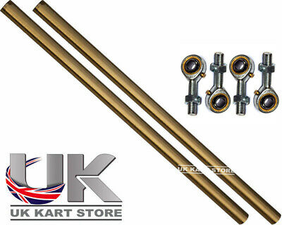 Go Kart M8 Track Rod 220mm Round Gold with Bronze Ends X 2 Race Racing