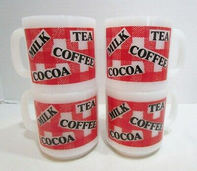 Glasbake Milk Tea Coffee Cocoa Stackable Milk Glass Mug Mugs Set Of 4 Vintage